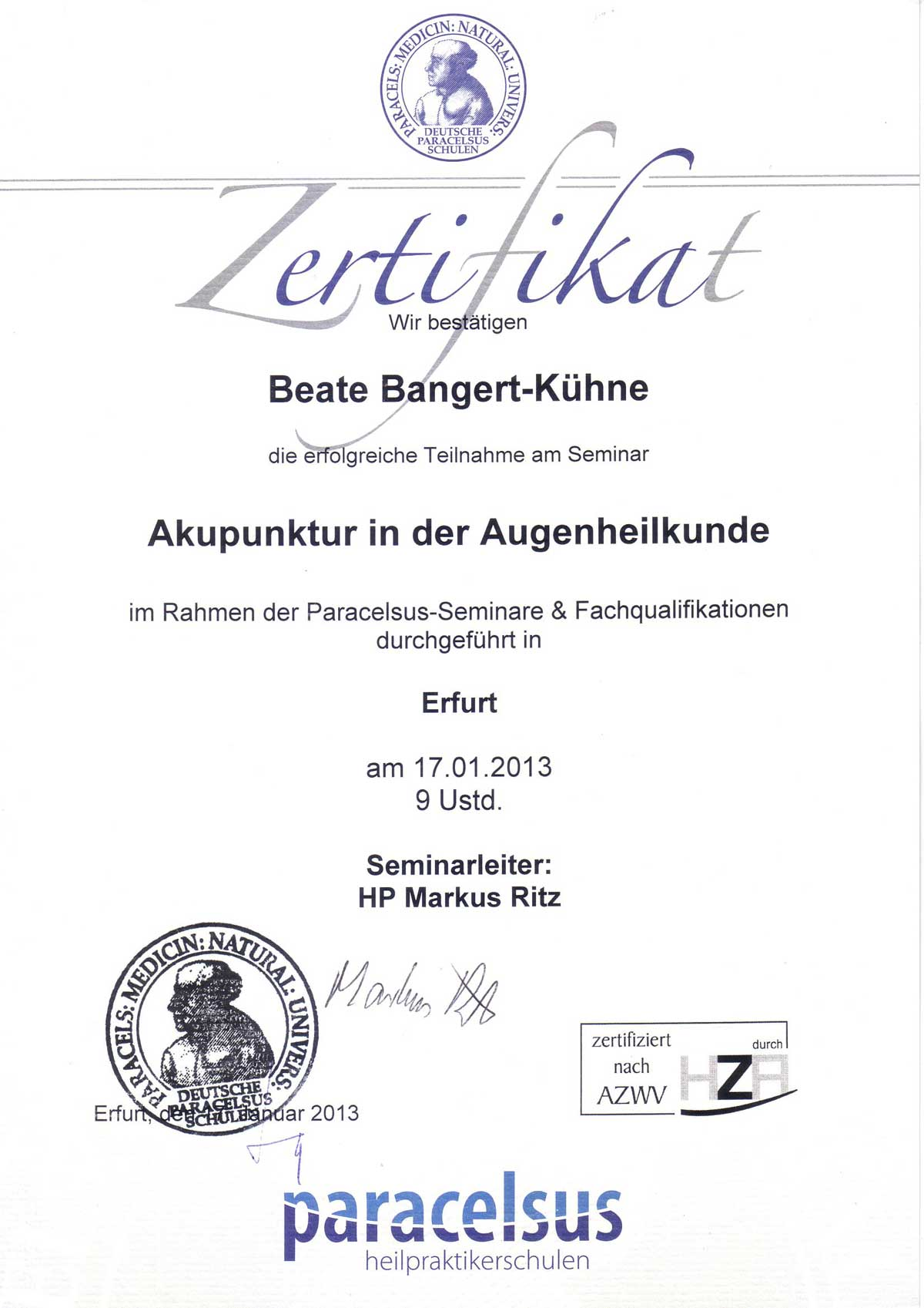 Akupunktur in der Augenheilkunde HP Bangert-Kühne