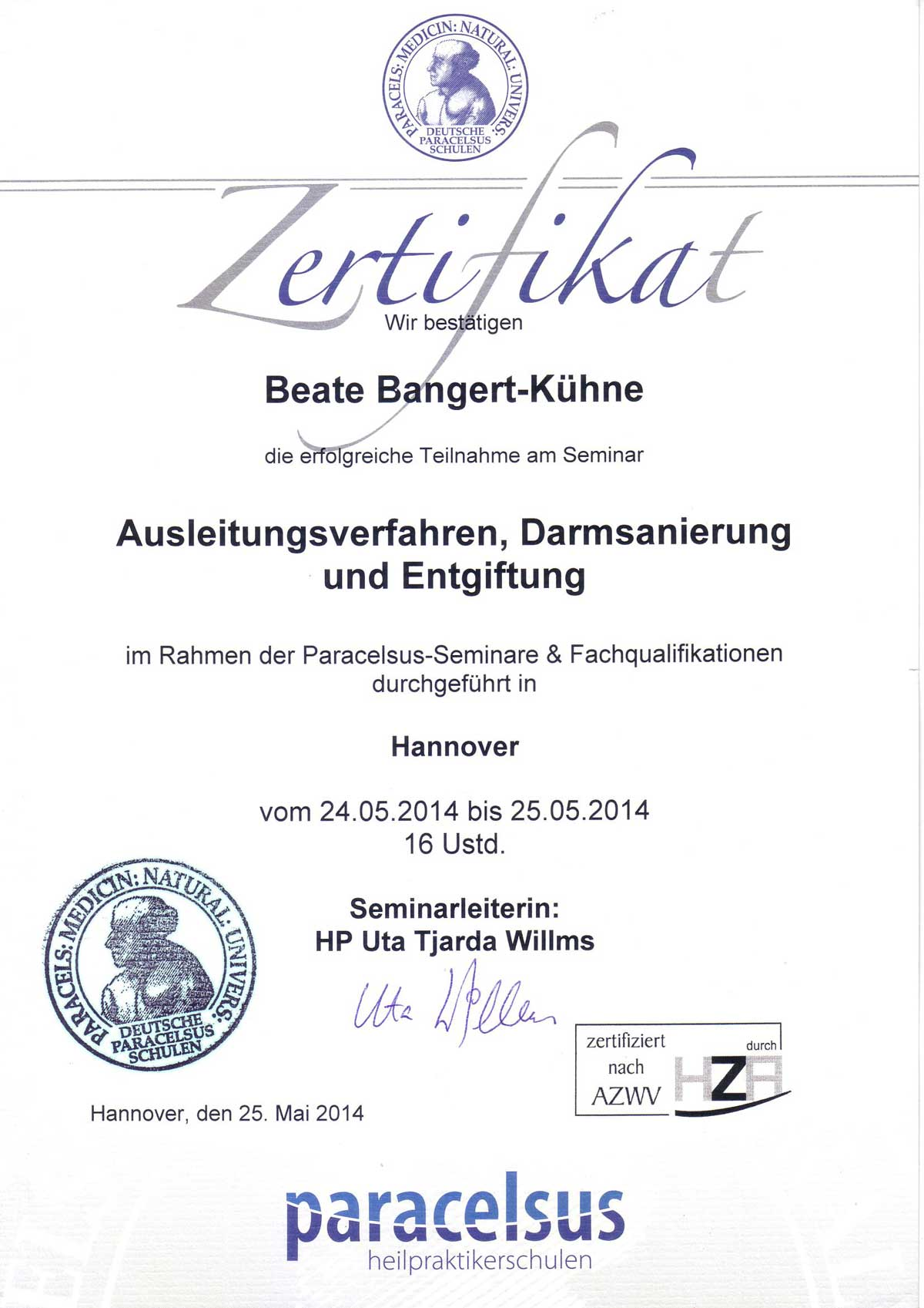 Ausleitungsverfahren, Darmsanierung, Entgiftung Kassel HP Bangert-Kühne