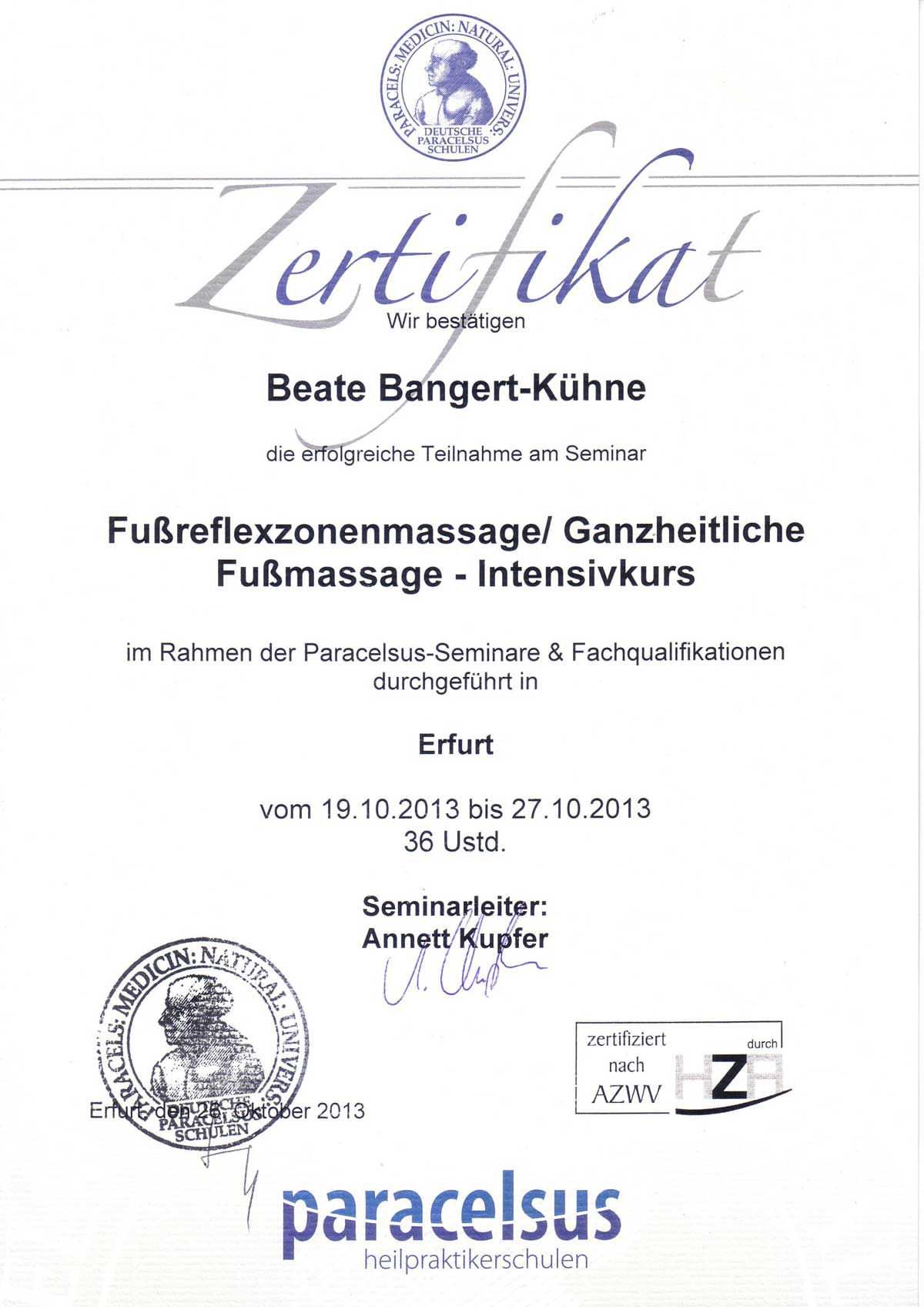 Fußreflexzonentherapie Kassel HP Bangert Kühne