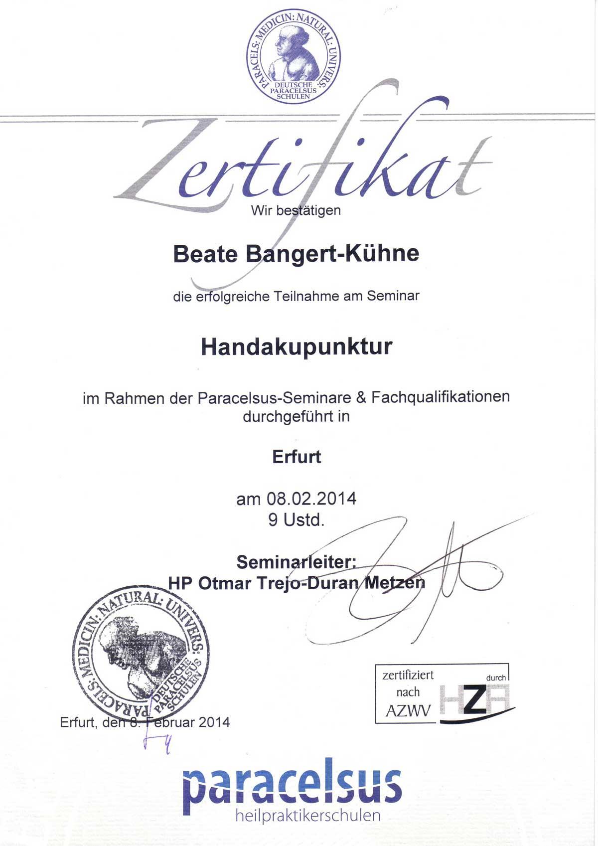 Hand-Akupunktur Kassel HP Bangert-Kühne