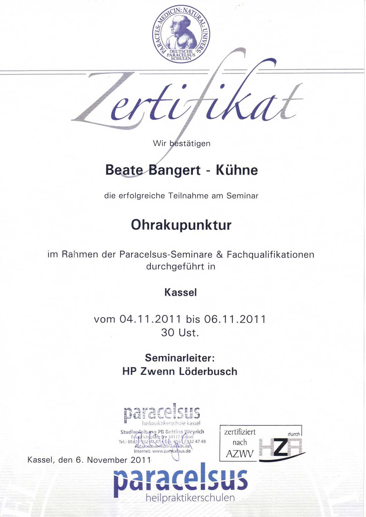 Ohr-Akupunktur Kassel HP Bangert-Kühne