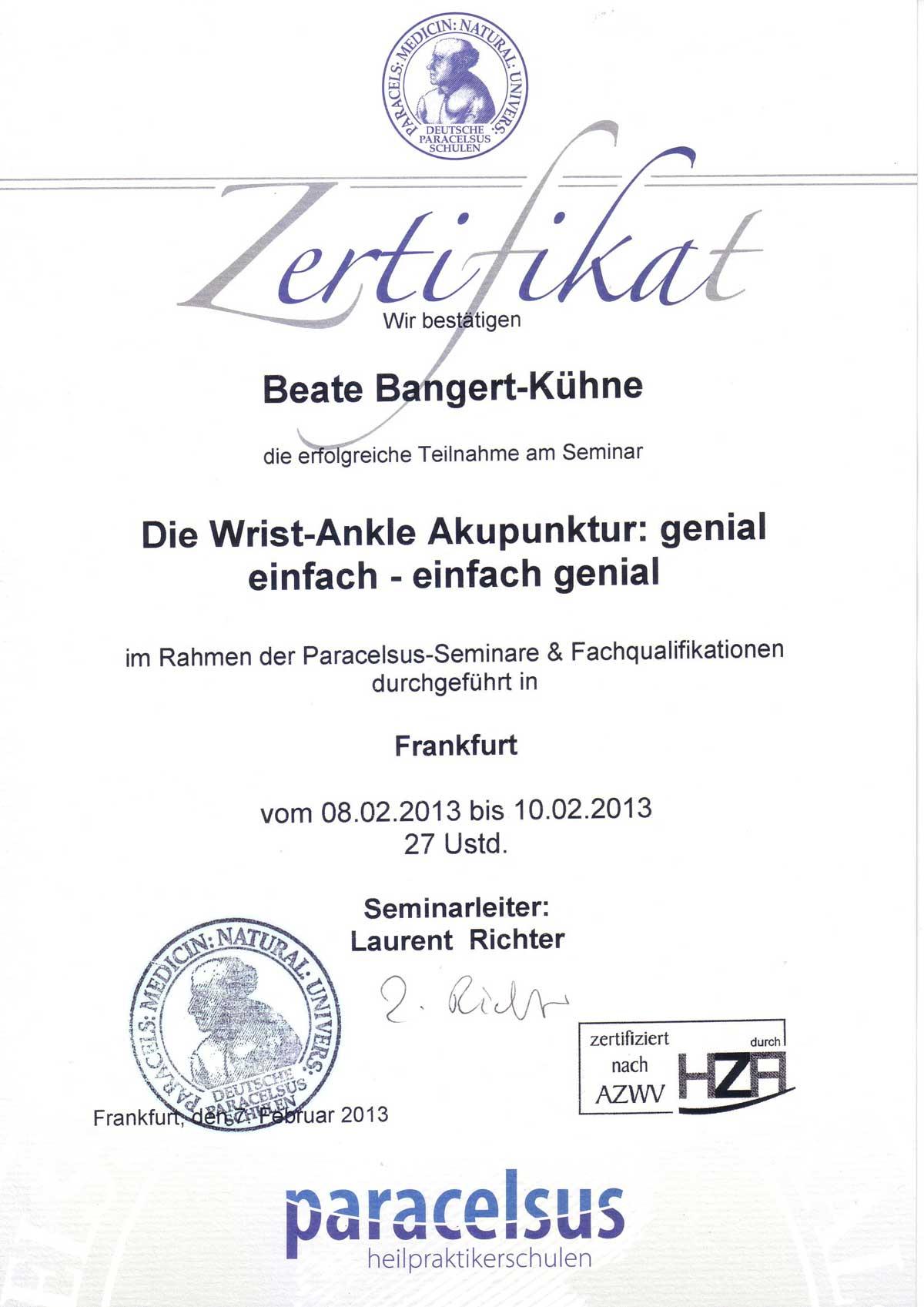 Wrist-Ancle-Akupunktur Kassel PH Bangert Kühne